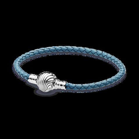 Bracelet en cuir tressé turquoise, avec fermoir coquillage PandoraMoments