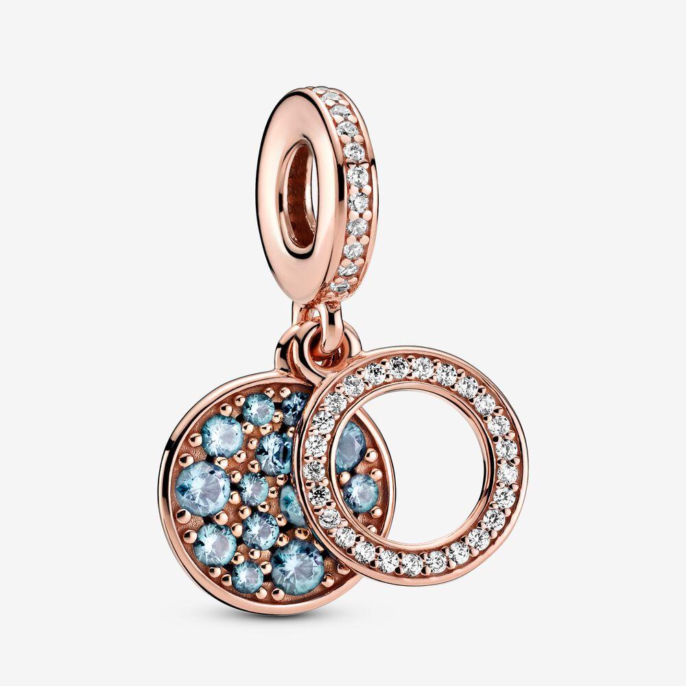 Charm-pendentif double Disque scintillant bleu clair | Plaqué or ...