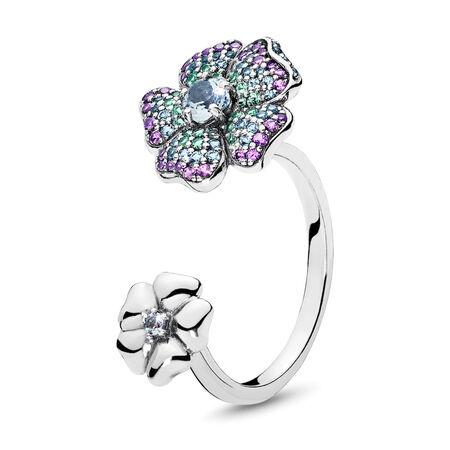 Bague Fleurs glorieuses, cz multicolore