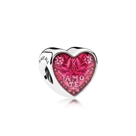 Cœur d'amour latin, émail cerise translucide