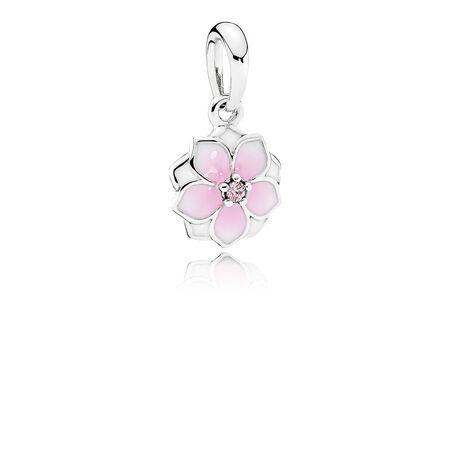 Magnolia Bloom, Pale Cerise Enamel & Pink CZ