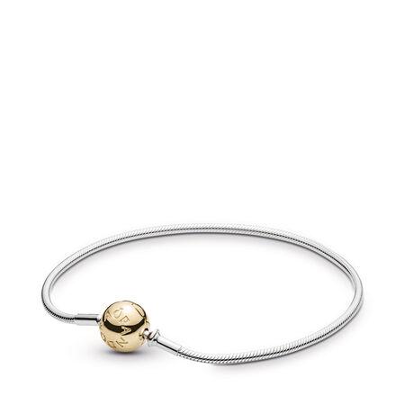 Bracelet fin à fermoir en or 14 ct, Deux Tons, Aucun autre matériel, Aucune couleur, Aucune pierre - PANDORA - #596003
