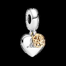 Charm-pendentif Cœur et arbre généalogique en deux tons
