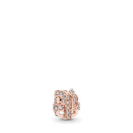 All Wrapped Up Petite Charm, PANDORA Rose™ & Clear CZ, PANDORA Rose, Cubic Zirconia - PANDORA - #782167CZ
