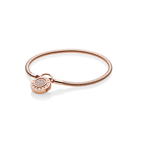 Smooth PANDORA Rose™ Bracelet, Signature Padlock, Clear CZ