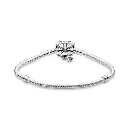 Decorative Butterfly Clasp Charm Bracelet, Sterling silver, Cubic Zirconia - PANDORA - #597929CZ