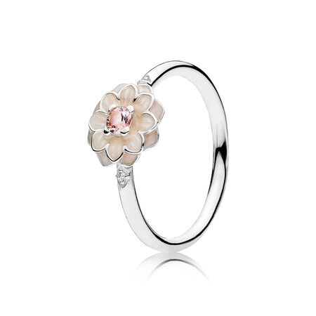 Blooming Dahlia, Cream Enamel, Clear CZ & Blush Pink Crystals