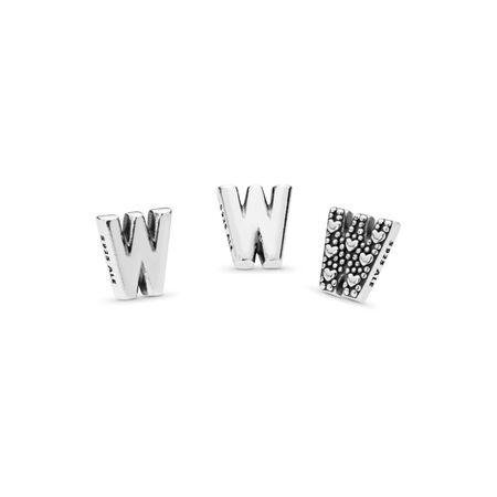 Mini Lettre W, Argent sterling, Aucun autre matériel, Aucune couleur, Aucune pierre - PANDORA - #797341