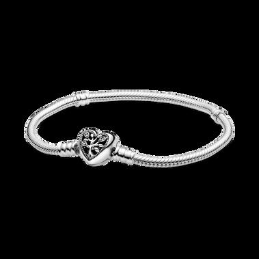 Bracelet à fermoir en cœur à arbre généalogique et à chaîne serpentine PandoraMoments
