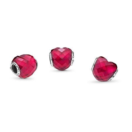 Charm En forme d'amour, cristal rose fuchsia