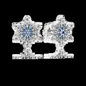 Flocon cristallisé, cristaux bleus et cz incolore