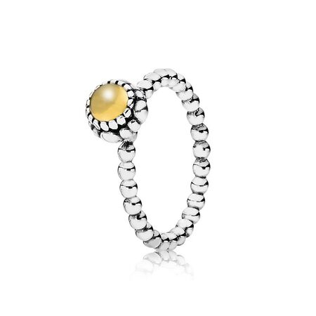 Silver ring, birthstone-November, citrine