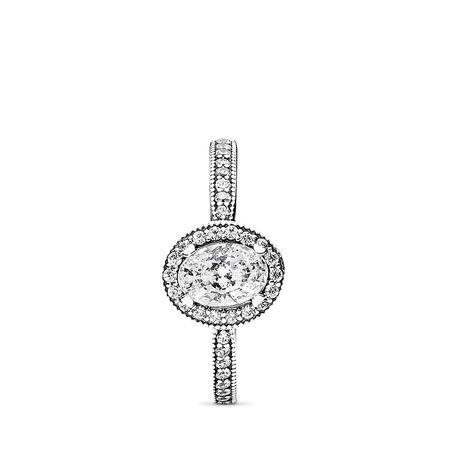 Vintage Elegance, Clear CZ, Sterling silver, Cubic Zirconia - PANDORA - #191017CZ