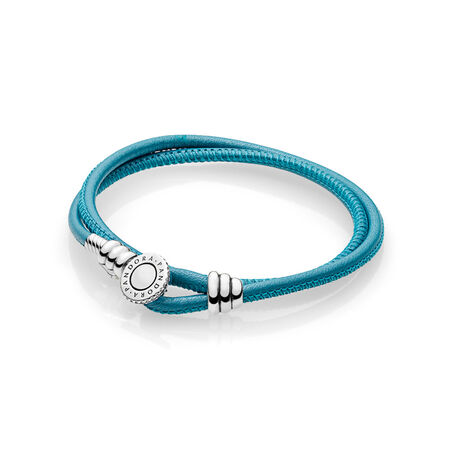 Limited Edition Turquoise Double Leather Bracelet, Clear CZ