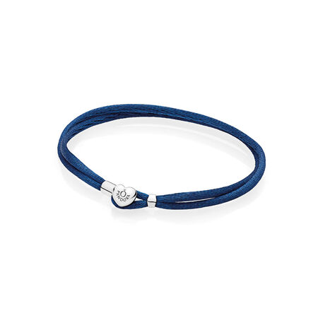 Bracelet-cordonnet en tissu, bleu foncé