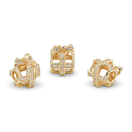 All Wrapped Up, Clear CZ & 14K Gold, Yellow Gold 14 k, Cubic Zirconia - PANDORA - #750839CZ