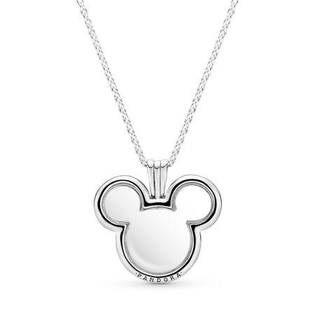 Loquet flottant Mickey Mouse PANDORA, cz incolore, Argent sterling, Verre, Aucune couleur, Aucune pierre - PANDORA - #397177