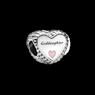 Charm Cœur avec inscription «Goddaughter»