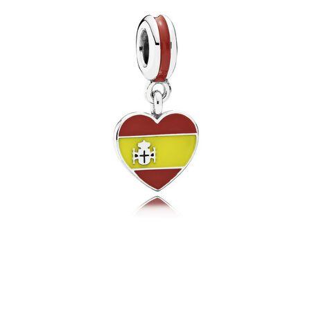 Spain Heart Flag, Red & Yellow Enamel