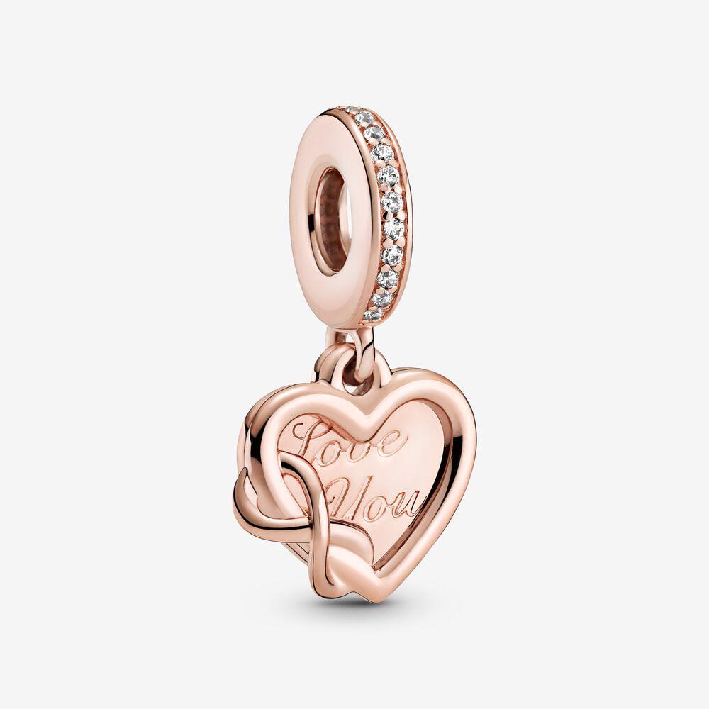 Charm-pendentif « Love you » avec cœur et symbole d'infini ...