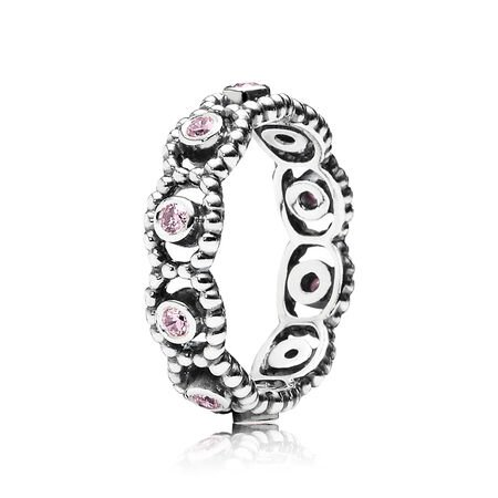 Her Majesty Stackable Ring, Pink CZ, Sterling silver, Pink, Cubic Zirconia - PANDORA - #190881PCZ