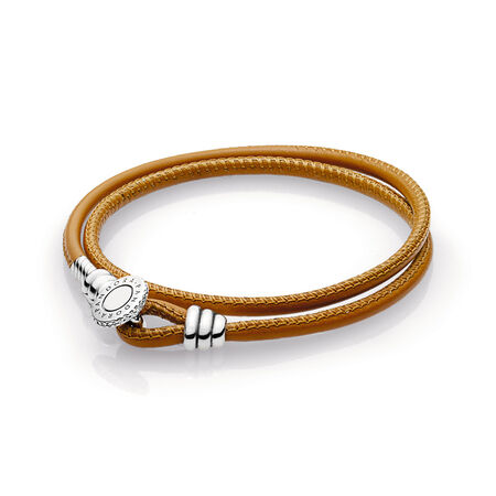 Golden Tan Double Leather Bracelet, Clear CZ, Sterling silver, Leather, Brown, Cubic Zirconia - PANDORA - #597194CGT-D