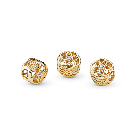 Loving Bloom, 14K Gold & Clear CZ, Yellow Gold 14 k, Cubic Zirconia - PANDORA - #750598CZ