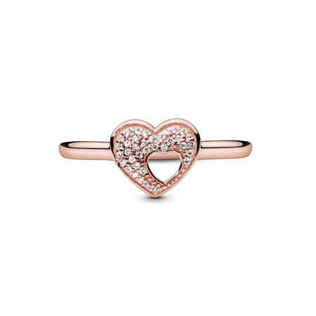 Shimmering Puzzle Heart Frame, PANDORA Rose™ & Clear CZ