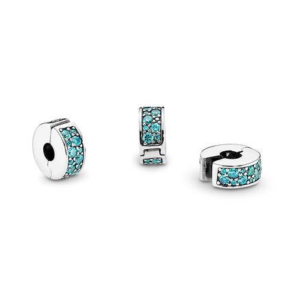 Élégance brillante, cz turquoise, Argent sterling, Silicone, Turquoise, Zircon cubique - PANDORA - #791817MCZ