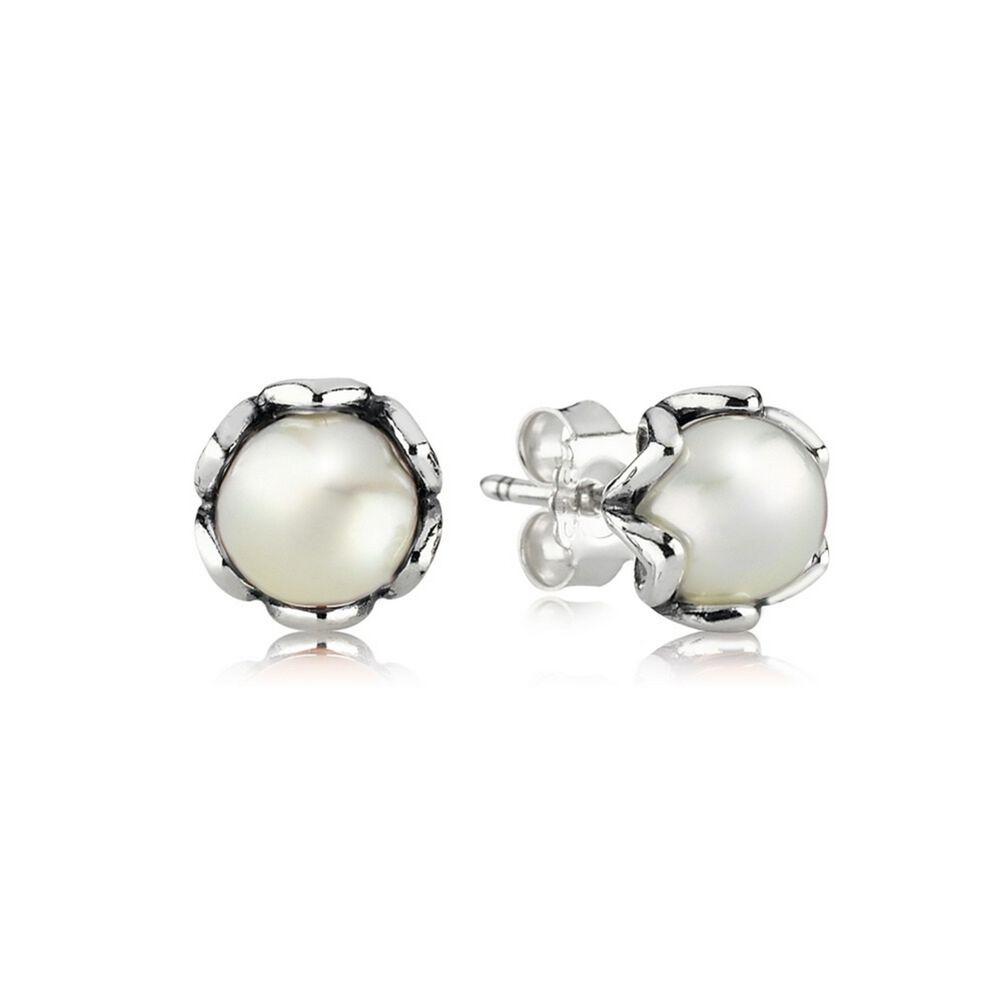 Cultured Elegance Stud Earrings White Pearl