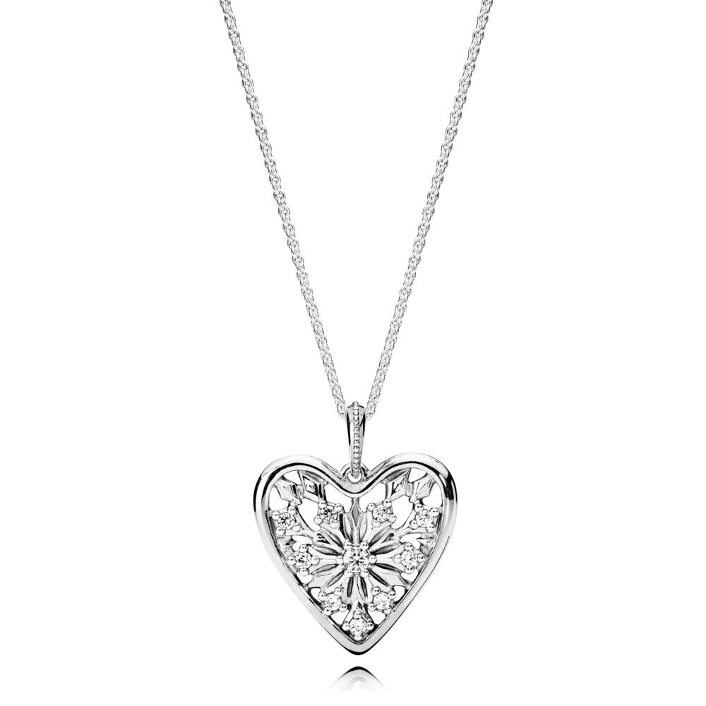 8c70aff69a8e4 Heart of Winter Pendant with Chain, Clear CZ