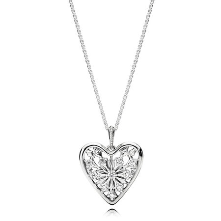 Heart of Winter Pendant with Chain, Clear CZ, Sterling silver, Cubic Zirconia - PANDORA - #396369CZ