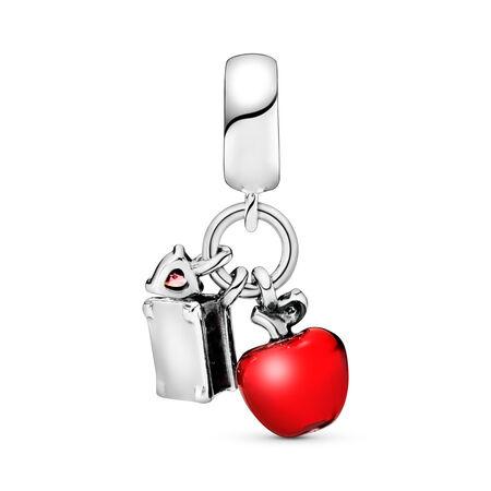 Charm pendentif Disney, Pomme et cœur de Blanche-Neige, cz rouge et vert et émail rouge