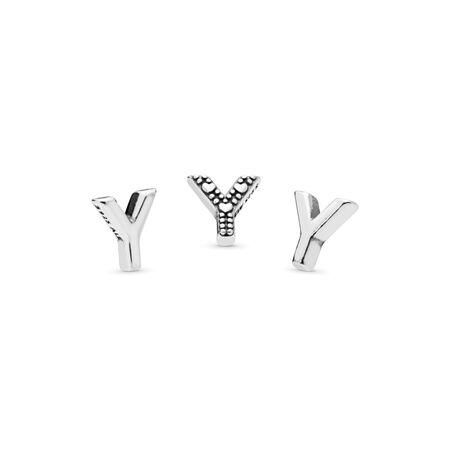 Letter Y Petite Charm, Sterling silver - PANDORA - #797343