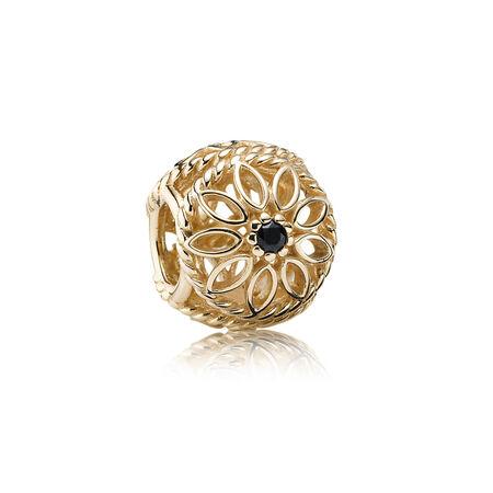 Beauté délicate, spinelle noir, Or jaune 14 ct, Aucun autre matériel, Spinelle noir - PANDORA - #750821SPB