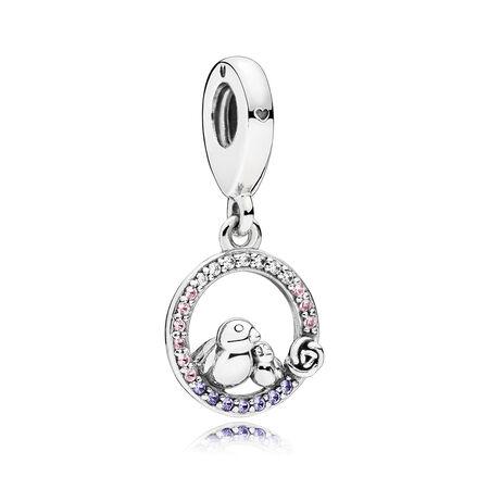 Charm pendentif Maman oiseau et son oiselet, cristaux rose pâle et lilas, cz incolore