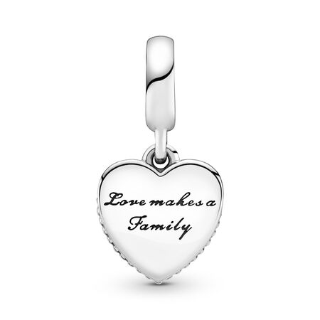 Love Makes A Family, Pink Enamel & Clear CZ