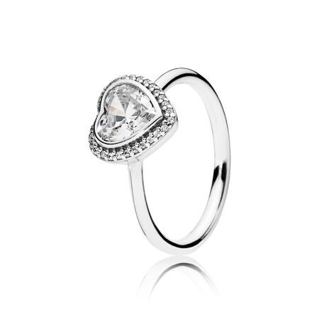 Sparkling Love Heart Ring, Clear CZ