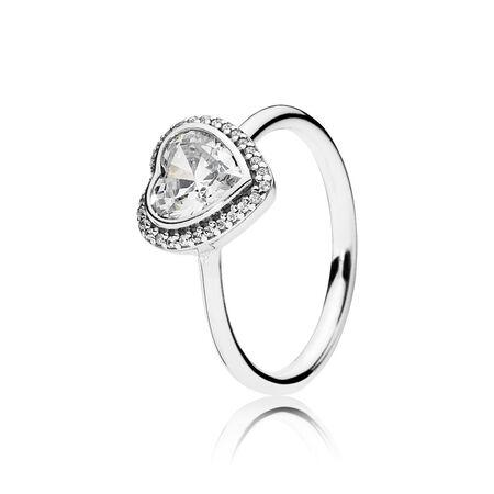 05da17425 Sparkling Love Heart Ring, Clear CZ