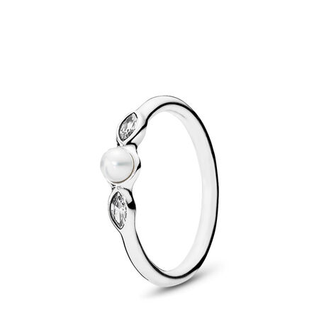 Petite Luminous Leaves, White Pearl & Clear CZ, Sterling silver, Beige, Mixed stones - PANDORA - #190964P