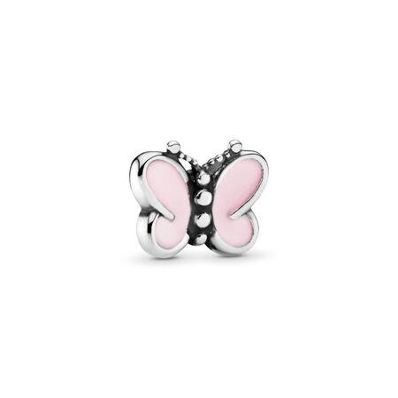 Mini charm Papillon rose, Argent sterling, émail, Rose, Aucune pierre - PANDORA - #797854EN160