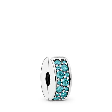 Shining Elegance, Teal CZ, Sterling silver, Silicone, Turquoise, Cubic Zirconia - PANDORA - #791817MCZ