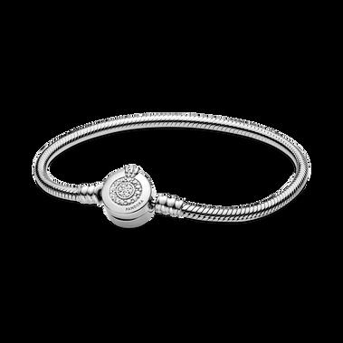 Bracelet à chaîne serpentine «O» couronné scintillant PandoraMoments