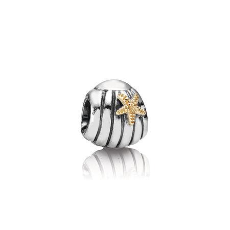 Silver Seashell Charm With 14K Gold Starfish, Two Tone - PANDORA - #790249