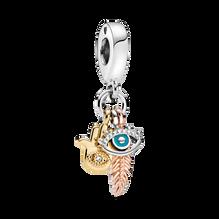 Charm-pendentif Spiritualité avec Hamsa, œil qui voit tout et plume