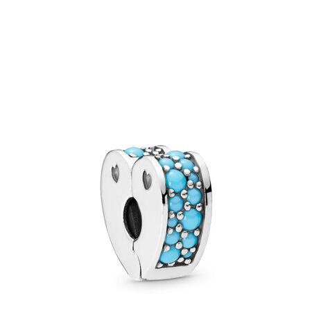 Clip Arcs d'amour, cristal bleu, Argent sterling, Silicone, Bleu, Cristal - PANDORA - #797227NYA