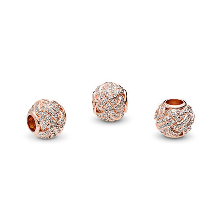 Sparkling Love Knot, PANDORA Rose™ & Clear CZ, PANDORA Rose, Cubic Zirconia - PANDORA - #781537CZ