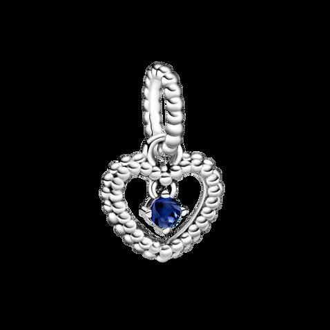 September Sea Blue Beaded Heart Dangle Charm
