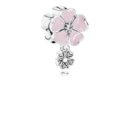 Poetic Blooms, Soft Pink Enamel & Clear CZ