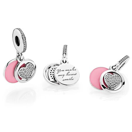 Devoted Heart, Pink Enamel & Clear CZ